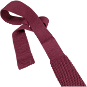 """Old, """"Private Club"""" Skinny Necktie - Wool Knit, Square Bottom"""