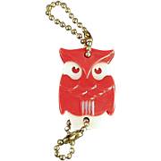 Old, Figural Key Chain - Red Owl with Advertising