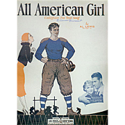 Vintage Sheet Music - All American Girl - 1932 - Fun Decorator Piece