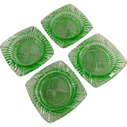 Old, Green Glass Ashtrays - Set of Four (4) - Nice Geometric Pattern