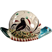 Mexican Pottery Snail with Bird Design & Colorful Glaze