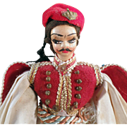 Old, Plastic Doll in Traditional Greek Costume