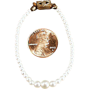 Old, Graduated Faux Pearls Doll Necklace