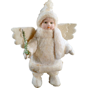 SOLD Old, Snow Baby Angel, Bisque Doll with Christmas Tree