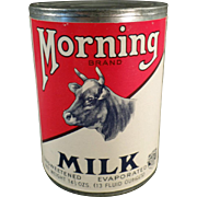 Old, Morning Milk Tin with Cow Graphics 1929