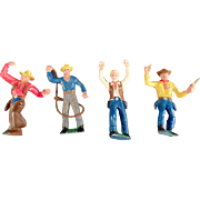 Vintage, Cowboy Action Figures - Made in Germany - 4 Pieces