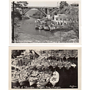 2, Vintage Postcards -Photographs of Depoe Bay, Oregon
