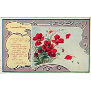 Vintage Postcard - Language of Flowers, Scarlett Poppies