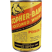 Vintage Gopher Poison Tin - Klinzmoth Gopher Bane