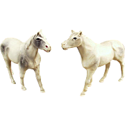 2 Vintage Celluloid, Toy Horse Figures