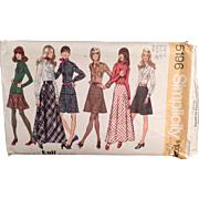 SOLD Vintage Simplicity Pattern #5196 - Mod Fashions - Skirts, Blouse & Top - 1972, Size 14