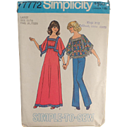 Vintage, Simplicity Pattern #7772 - Mod Fashions - Casual Top & Dress - 1976
