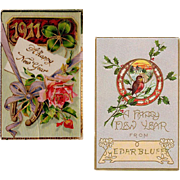 2 Vintage Postcards - New Years Greetings