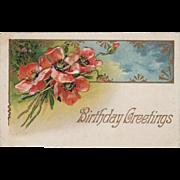 "Vintage, ""Birthday Greetings"" Postcard with Poppies"