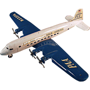 Vintage Marx, Pressed Steel Airplane - Marx Super 7 Clipper