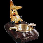 Vintage, Figural Ashtray with Carved Wood Dog