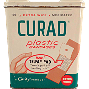 Vintage, Curad Plastic Bandages Tin - 1960 - Nice Graphics