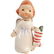 SOLD Vintage Angel with Christmas Stocking
