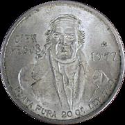 1977 Mexican Cien Pesos, Silver Coin