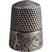 Vintage, Sterling Silver Thimble with Leaf Design - Stern Brothers