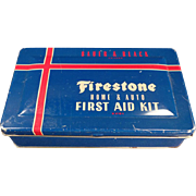 SOLD Vintage, Firestone, Home & Auto, First Aid Kit Tin