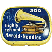 Vintage, Phonograph Needle Tin - Highly Refined Herold