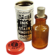 Vintage Ink Out Bottle with Original Tin - Cardinell Ink Out