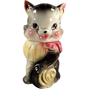 Vintage Cookie Jar - Cute Kitten - American Bisque Fluffy Cat