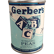 Vintage Advertising Bank - Gerber, ABC Baby Food Tin - Strained Peas