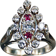 Ladies, Vintage, Diamond & Ruby Cocktail Ring - 14K White Gold