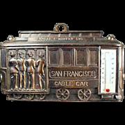 Vintage, San Francisco Souvenir - Cable Car Thermometer Plaque
