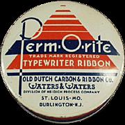 Vintage, Perm-O-Rite, Typewriter Ribbon Tin