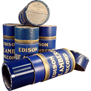 SALE PENDING 5 Vintage, Cylinder Phonograph Records - Edison, Blue Amberol with Original Boxes