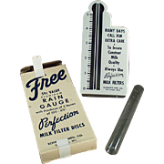 Vintage Rain Gauge Advertising Perfection Milk Filters