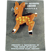 Vintage, Hand Painted Cedar Pin - Spotted Deer