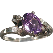 Vintage, 10k Yellow Gold, Bypass Ring - February Birthstone, Amethyst