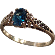 Vintage, 10k Yellow Gold Ring - Blue Topaz - Dainty Setting