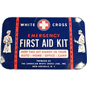 SOLD Vintage, White Cross First Aid Kit Tin with Doctor & Nurse Graphics
