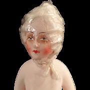 Vintage, Composition/Papier Mache Half Doll - Curled White Hair Wig, German