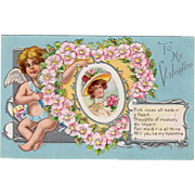 SALE Vintage Valentine Postcard with a Cherub and Floral Heart