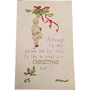 Vintage Christmas Postcard - Little Girl with Mistletoe