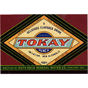 Vintage, Tokay Punch, Soda Bottle Label