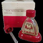 Vintage Watch Oil Bottle - Elgin M-56a with Original Packaging