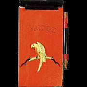 Vintage, Celluloid, Bridge Notepad with Parrot
