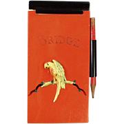 Vintage, Celluloid, Bridge Notepad with Parrot