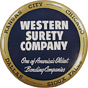 Vintage, Celluloid, Advertising Mirror Paperweight - Western Surety