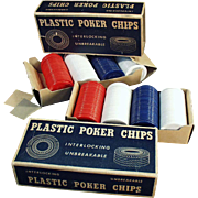 Vintage, Plastic Poker Chips in Original Boxes