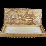 Vintage, Pyrography Tie Box - Wood Burned, Art Nouveau Design