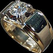 Vintage, Estate Ring - 14k Gold & Palladium, Man's Diamond Ring - 1.85 Carat