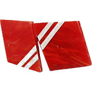 Vintage, Deco Styled, Geometric 2pc. Buckle - Red & White